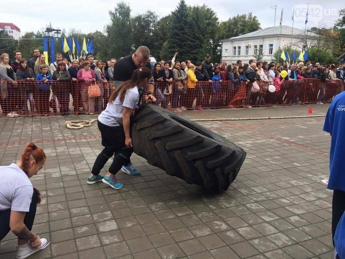 «Богатырские игры»: в центре Сум девушки тянули 2-тонный автомобиль, а парни – 4-тонную фуру , фото-13