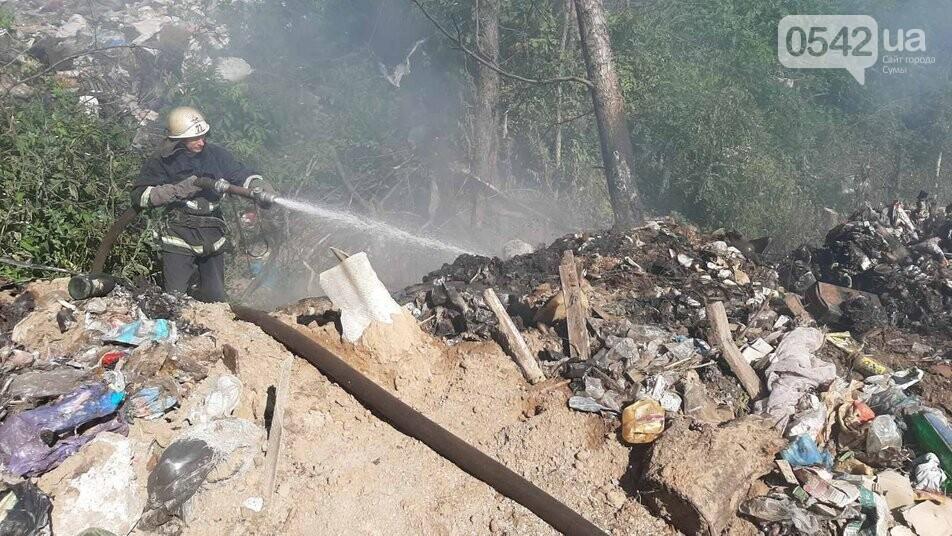 На Сумщині понад дев'ять годин гасили сміттєзвалище. Пожежа поновилася, фото-1