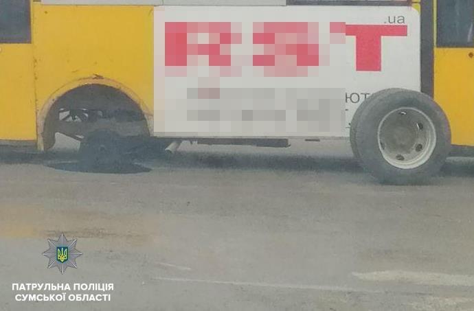 В Сумах на водителя маршрутки, у которой отпало колесо, составили админматериал, фото-1