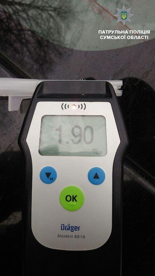 В Сумах остановили водителя, уровень опьянения которого почти в 10 раз превышал норму, фото-1