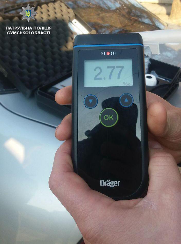 У сумского водителя уровень алкоголя в крови превышал норму в 14 раз