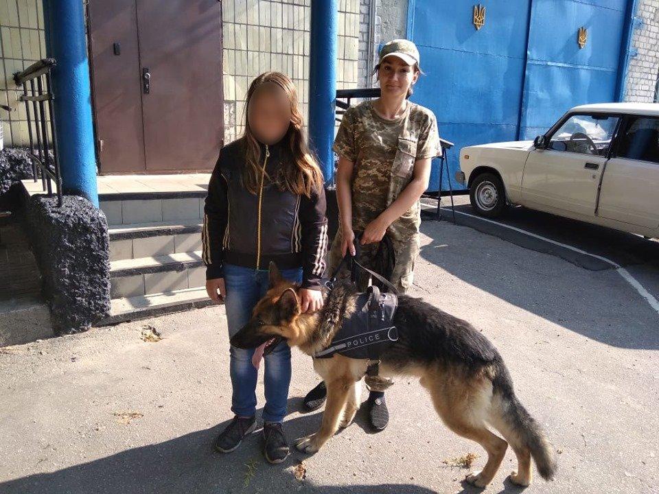 На Сумщині поліцейський пес Грей розшукав неповнолітню «мандрівницю», фото-1
