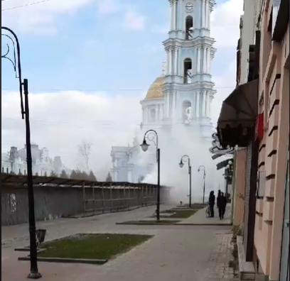 У центрі Сум біля собору пожежа, фото-1