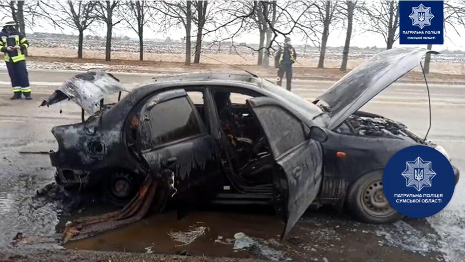 Стали відомі подробиці загоряння автомобіля на виїзді з Сум, фото-1