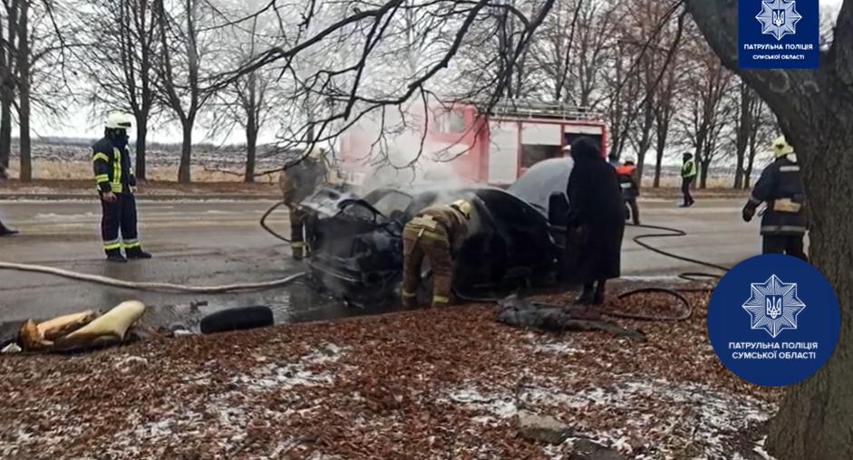 Стали відомі подробиці загоряння автомобіля на виїзді з Сум, фото-2