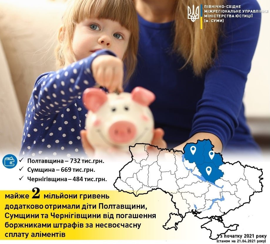 На Сумщині штрафування боржників зі сплати аліментів поповнило кишені родин на 669 000 грн, фото-1