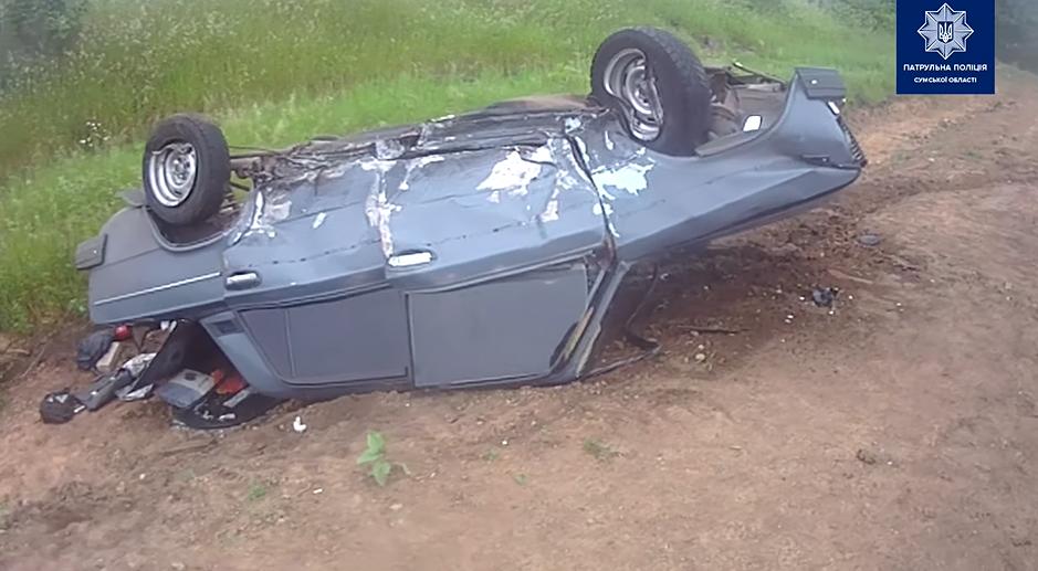 На автодорозі Суми-Полтава після лобового зіткнення перекинулась автівка, фото-1