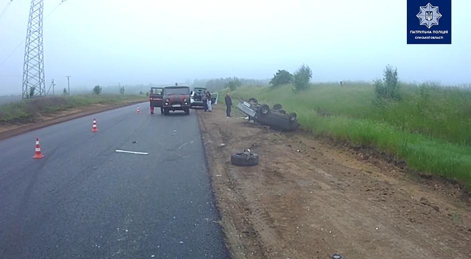 На автодорозі Суми-Полтава після лобового зіткнення перекинулась автівка, фото-3