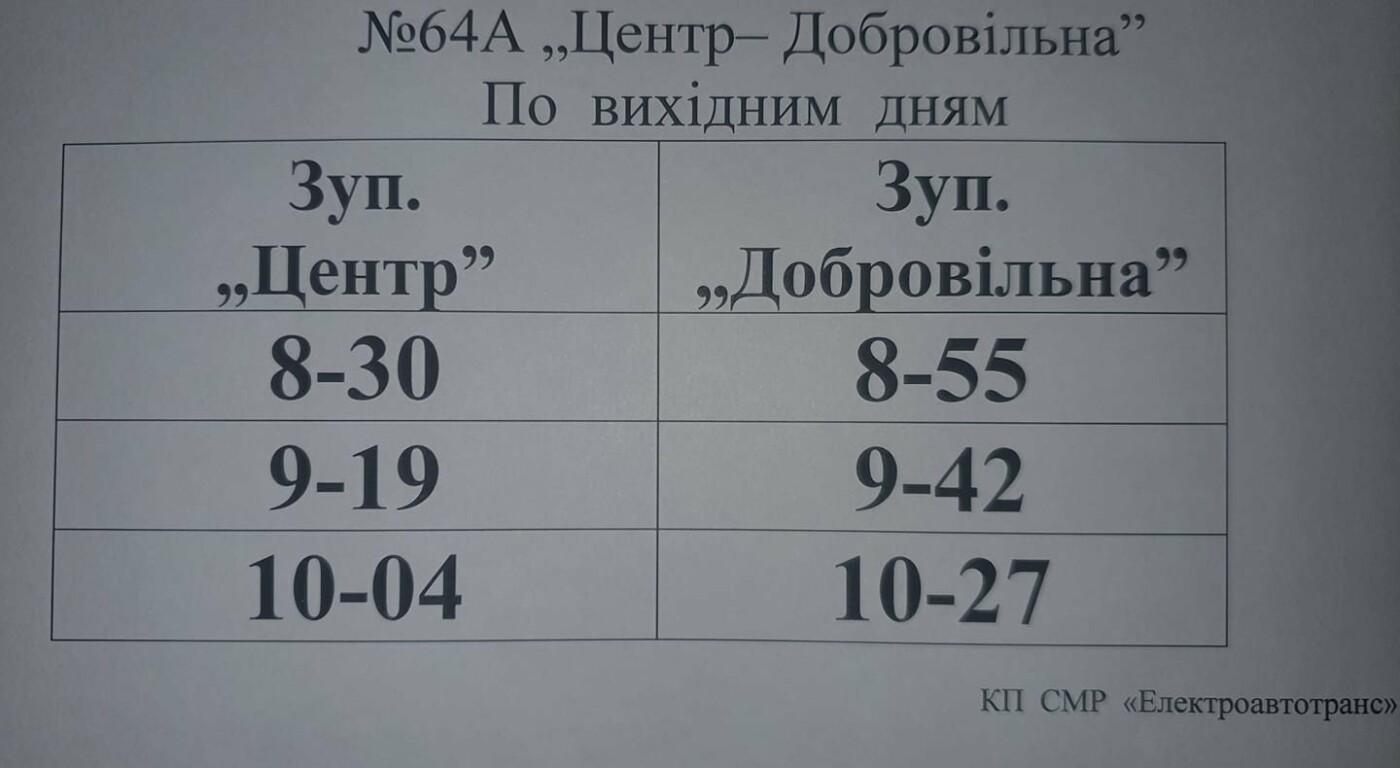 У вихідні автобус на Добровільну курсуватиме тільки вранці, фото-1